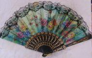 Black Lace Folding Fan with Flowers (dozen)