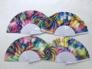 Folding Fan (Rainbow w/White Handle)