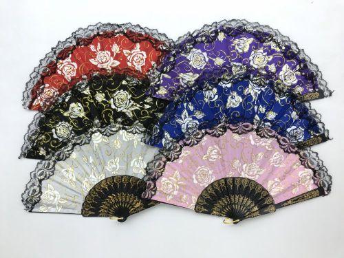 Folding Fan (Rose w/Black Handle)
