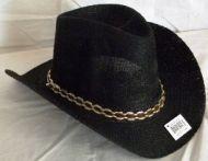 Woven Cowboy Hat Black