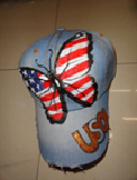 Butterfly/USA Painted Baseball Cap