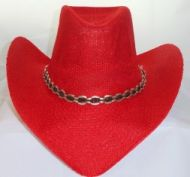 Woven Cowgirl Hat Red