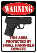 "12 x 17 Metal Sign ""Warning: Small Handheld Device"""