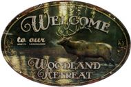 "12 x 17 Oval Sign ""Welcome Woodland Retreat"""