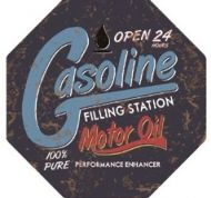 "12"" Octagon Metal Sign ""Gasoline"""