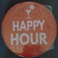 "12"" Round Metal Sign ""Happy Hour"""