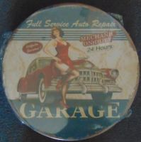 "12"" Round Metal Sign ""Full Service Garage"""