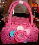 Girl Purse w/Flower & Rhinestone