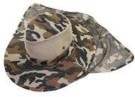 Camo Safari Hat with Neck Veil 59 cm