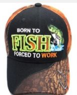"""Baseball Cap """"Born to Fish, Forced to Work"""""""