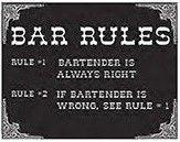 "12 x 15 Metal Sign ""Bar Rules"""