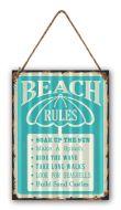 "12 x 16 Wavy Metal Sign ""Beach Rules"""