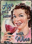 "12 x 17 Metal Sign ""Age Wine"""